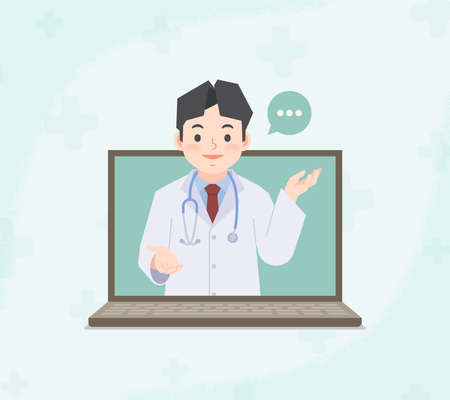 A laptop see a asian man doctor video call online to contact hospital for consultation and diagnosis from distancing place blank banner illustration vector. Health Care Concept.