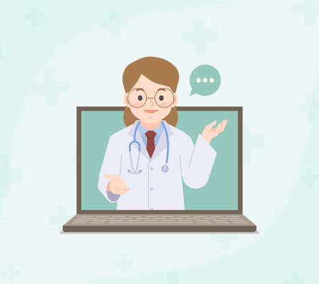 A laptop see a woman doctor video call online to contact hospital for consultation and diagnosis from distancing place blank banner illustration vector. Health Care Concept. Ilustrace