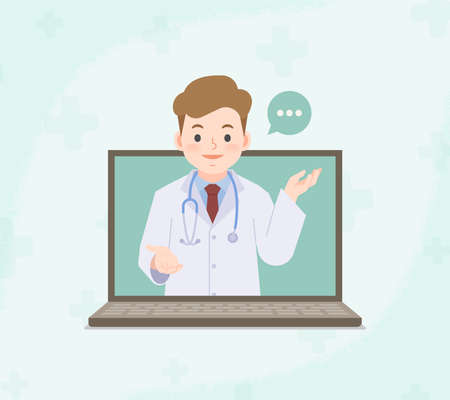 A laptop see a man doctor video call online to contact hospital for consultation and diagnosis from distancing place blank banner illustration vector. Health Care Concept.