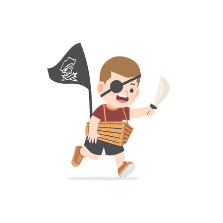 A imaginative boy be happy with boat cardboard box playing like pirate on white background, illustration vector. Kids concept