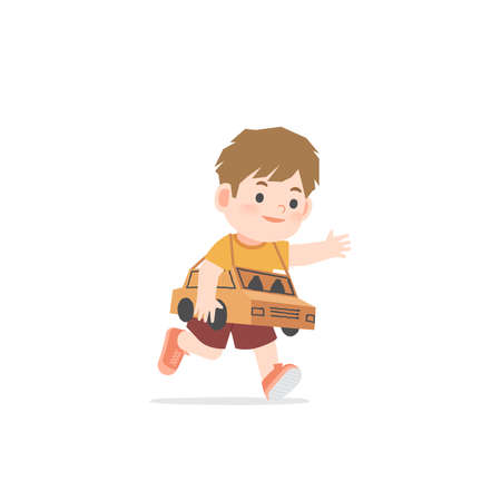 A imaginative boy be happy with playing car cardboard box on white background, illustration vector. Kids concept