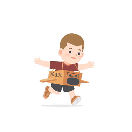 A imaginative boy be happy with playing airplane cardboard box on white background, illustration vector. Kids concept