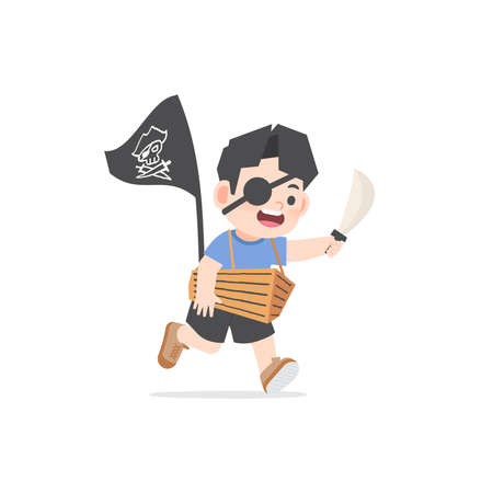 A imaginative asian boy be happy with boat cardboard box playing like pirate on white background, illustration vector. Kids concept