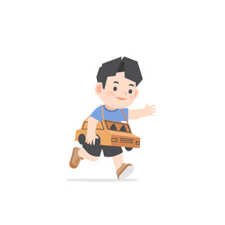 A imaginative asian boy be happy with playing car cardboard box on white background, illustration vector. Kids concept