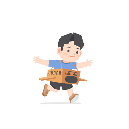 A imaginative asian boy be happy with playing airplane cardboard box on white background, illustration vector. Kids concept
