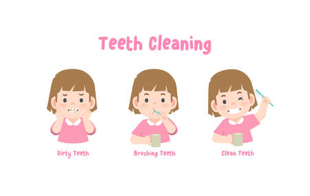 3 steps a girl cleaning his teeth with toothbrush by brushing teeth. illustration vector on white background.