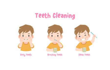 3 steps a boy cleaning his teeth with toothbrush by brushing teeth. illustration vector on white background. 일러스트
