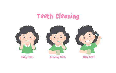 3 steps a asian girl cleaning his teeth with toothbrush by brushing teeth. illustration vector on white background. 일러스트