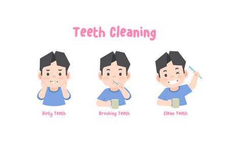 3 steps a asian boy cleaning his teeth with toothbrush by brushing teeth. illustration vector on white background. 일러스트