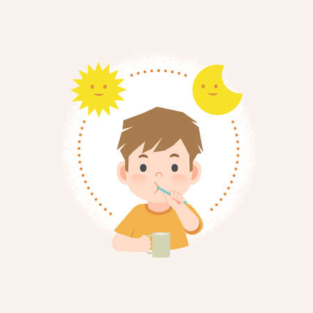 a boy cleaning his teeth with toothbrush by brushing teeth with circle and sun and moon, meaning is daily routine daytime and nighttime brushing teeth. illustration vector on white background.
