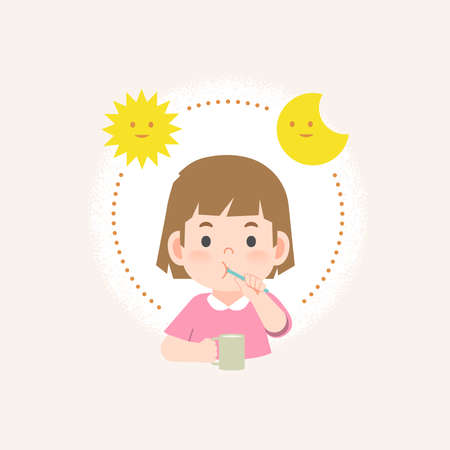 a girl cleaning his teeth with toothbrush by brushing teeth with circle and sun and moon, meaning is daily routine daytime and nighttime brushing teeth. illustration vector on white background. Ilustrace