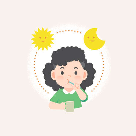 a asian girl cleaning his teeth with toothbrush by brushing teeth with circle and sun and moon, meaning is daily routine daytime and nighttime brushing teeth. illustration vector on white background.