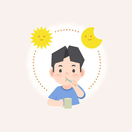 a asian boy cleaning his teeth with toothbrush by brushing teeth with circle and sun and moon, meaning is daily routine daytime and nighttime brushing teeth. illustration vector on white background.