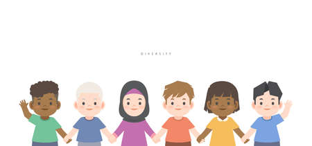 A group of diversity kids (White, Black, African, Asian, Arabic, Albino) cute character cartoon holding hand together illustration vector on white background and space for texting. Ethnic diversity