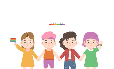 A group of LGBTQ people (lesbian, gay, bisexual, transgender, queer) cute character cartoon holding hand together illustration vector on white background and space for texting. LGBT community. LGBTQ. 일러스트