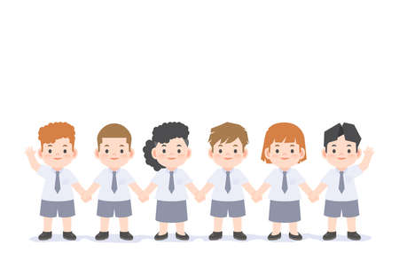 A group of student kids cute uniform character cartoon holding hand together illustration vector on white background and space for texting. Education concept