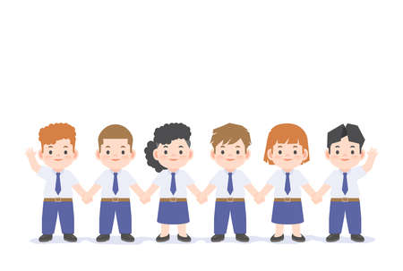 A group of student kids or cute A group of people office uniform character cartoon holding hand together illustration vector on white background and space for texting. Education concept