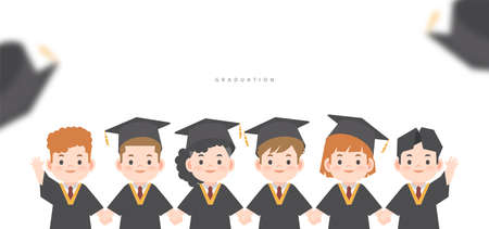 A group of graduated kids in gown cute character cartoon holding hand together illustration vector on white background and space for texting. Graduation concept