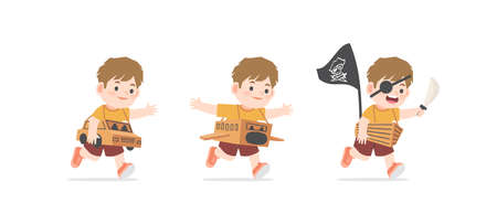 A imaginative boy be happy with playing car, airplane, boat cardboard box on white background, illustration vector. Kids concept