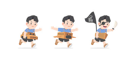 A imaginative asain boy be happy with playing car, airplane, boat cardboard box on white background, illustration vector. Kids concept
