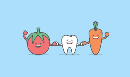 A tooth cartoon character holding hand together and friendly with carrot, Meaning is the tooth be healthy by eating vegetables, illustration vector, Dental care concept. 일러스트