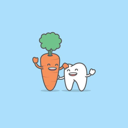 A tooth cartoon character be friendly with carrot, Meaning is the tooth be healthy by eating vegetables, illustration vector, Dental care concept.