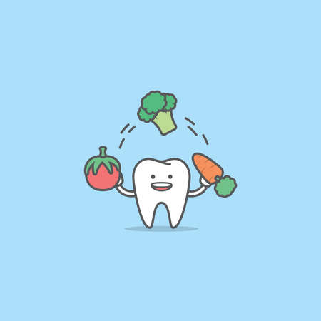 A tooth cartoon character juggling with tomato, broccoli, carrot, Meaning is the tooth be healthy by eating vegetables, illustration vector, Dental care concept.