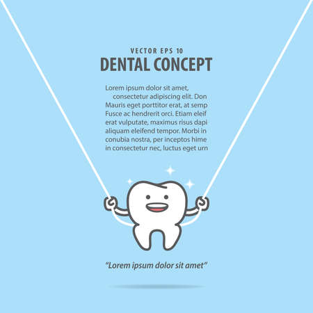 Dental cartoon of a white tooth cleaning with swing the dental floss illustration cartoon character vector design on blue background. Dental care concept.