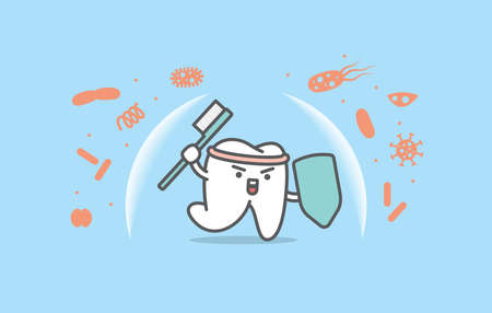 Dental cartoon of a white tooth protecting bacteria with toothbrush illustration cartoon character vector design on blue background. Dental care concept.
