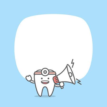 Blank banner dental cartoon of tooth doctor character and text box illustration cartoon character vector design on blue background. Dental care concept. Illusztráció