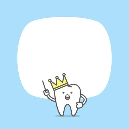 Blank banner dental cartoon of crown tooth character and text box illustration cartoon character vector design on blue background. Dental care concept.