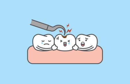 A friendly sad caries teeth cartoon character have a checkup illustration vector, Dental care concept. teeth