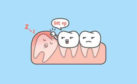 Dental cartoon of white teeth try to get the impaction tooth up by knocking gum illustration cartoon character vector design on blue background. Dental care concept.