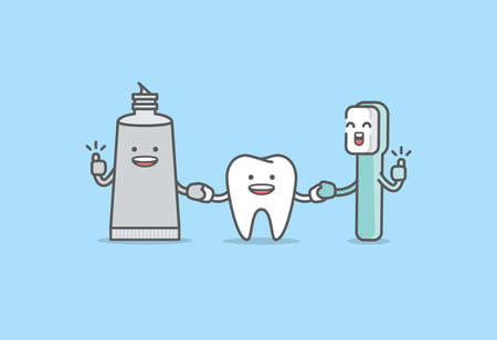 A friendly tooth, toothbrush, toothpaste cartoon character holding hand together, Meaning is the tooth be healthy by cleaning with toothbrush and toothpaste, illustration vector, Dental care concept. 矢量图像