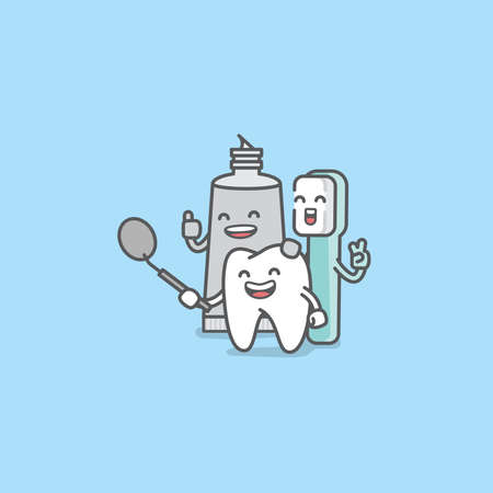 Dental cartoon of a tooth, toothbrush, toothpaste looking into the dental mirror with confidence and happiness illustration cartoon character vector design on blue background. Dental care concept.