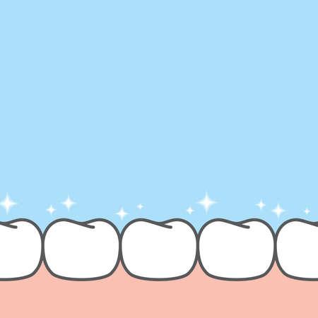 Blank banner lower shiny healthy white teeth illustration vector design on blue background. Dental care concept. 矢量图像