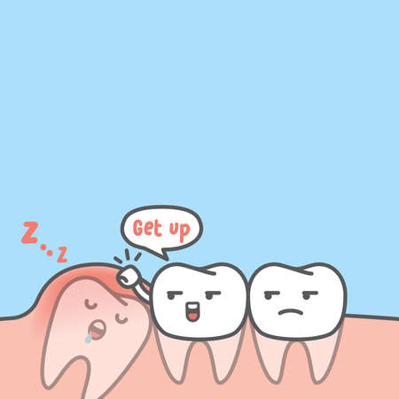 Blank banner dental cartoon of white teeth try to get the impaction tooth up by knocking gum illustration cartoon character vector design on blue background. Dental care concept.