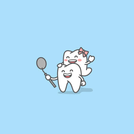Dental cartoon of a couple of tooth looking into the dental mirror with confidence and happiness and romantic illustration cartoon character vector design on blue background. Dental care concept. 矢量图像