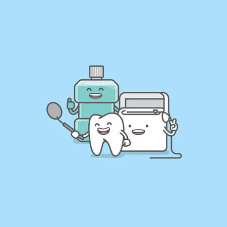 Dental cartoon of a tooth, mouthwash, floss teeth looking into the dental mirror with confidence and happiness illustration cartoon character vector design on blue background. Dental care concept.