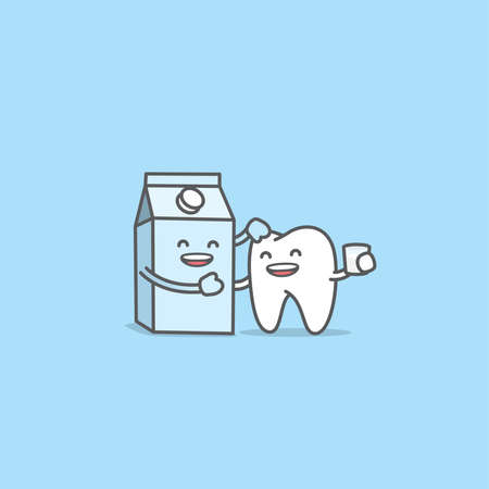 Dental cartoon of a tooth be friendly with a milk container, Meaning is the tooth be healthy and strong by drinking milk, illustration cartoon character vector design. Dental care