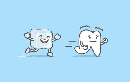 Dental cartoon of sensitive teeth run away from the ice illustration cartoon character vector design on blue background. Dental care concept.