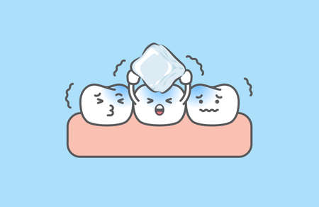 Dental cartoon of sensitive teeth be cold by holding the ice illustration cartoon character vector design on blue background. Dental care concept. 矢量图像