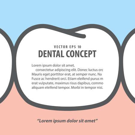 Banner tooth frame text box layout illustration vector design on blue background. Dental care concept. 矢量图像
