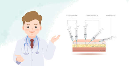 A doctor explaining kind of angle inserting injections and each layer of skin banner illustration vector. Health Care Concept.
