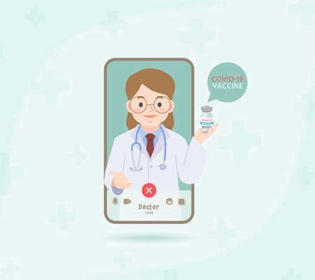 A cell phone see a woman doctor video call online to contact hospital for consultation and suggest for covid-19 vaccination from distancing place illustration vector. Health Care Concept. 矢量图像