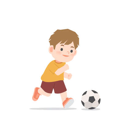 A boy running and smiling be happy playing football on white background, illustration vector. Kids concept
