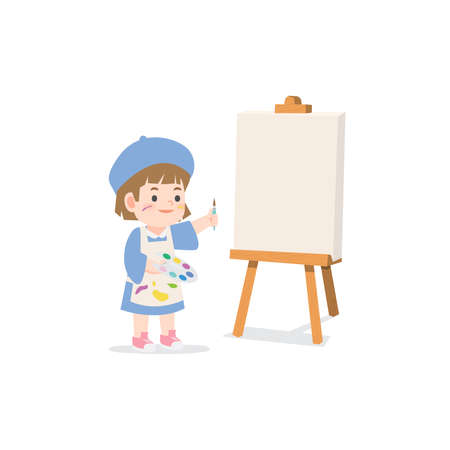 a little creativity girl be happy with painting canvas frame stand on a easel on white background, illustration vector. Kids concept