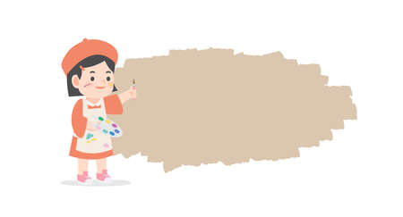 Creativity a little asian girl be happy with painting standing front of text box blank banner frame on white background, illustration vector. Kids concept