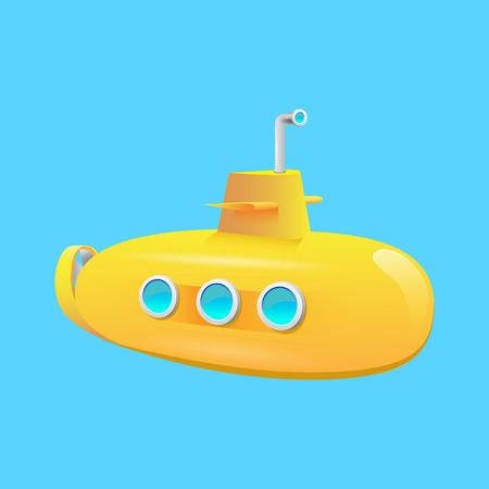 yellow submarine on a blue background on the ocean floor Illustration