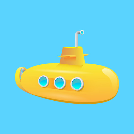 yellow submarine on a blue background on the ocean floor Vectores